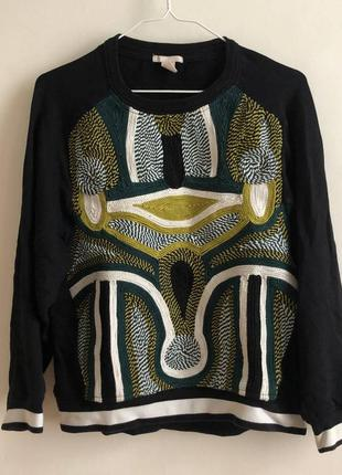 Hm свитшот с гобеленом с вышивкой качественный джемпер худи свитер
