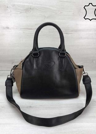 Женская сумка среднего размера черная сумка мокко сумка кожаная сумка водонепроницаемая