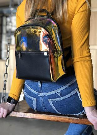 Силиконовый модный мини рюкзак полупрозрачный городской маленький перламутровый рюкзак