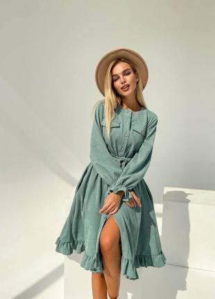 Женское платье миди мини тёплое зимнее осеннее до колена с воланами фонарик вельвет на пуговицах мята фисташка зелёный