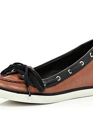 Стильные туфли топсайдеры фирмы river island p.40 стелька 26 см