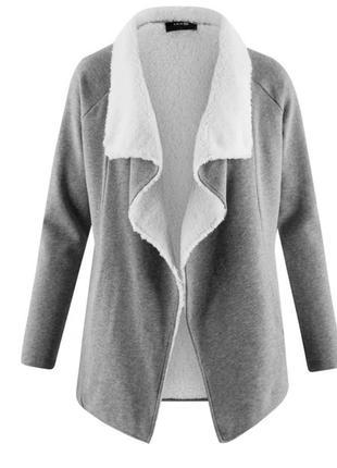 Теплая кофта кардиган с искусственным мехом серого цвета как новая oodji