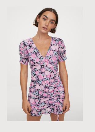 Разноцветное шифоновое платье в цветочный принт