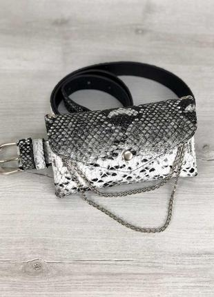 Бананка клатч сумка на пояс черно-белая маленькая поясная модная мини сумочка