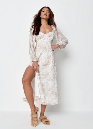 Роскошное шифоновое платье– миди в цветы с объемным рукавом как zara h&m asos как новое
