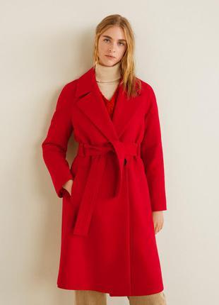 Красное миди пальто с поясом шерсть от mango