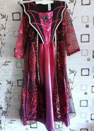 Карнавальное платье 7-8 лет колдунья, ведьма, королева пауков хеллоуин