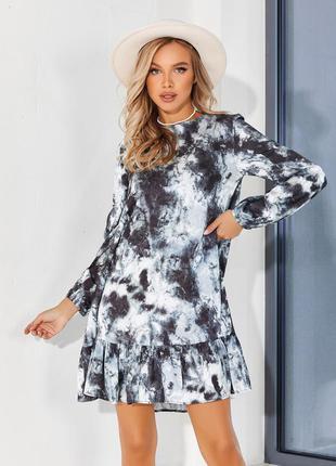 Платье-трапеция с воланом и принтом тай дай свободное до колен демисезонное фонарики