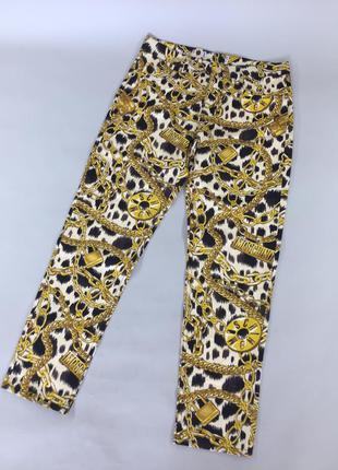 Шикарные женские штаны с цепями love moschino for h&m брюки золотые бриджи джинсы с лого