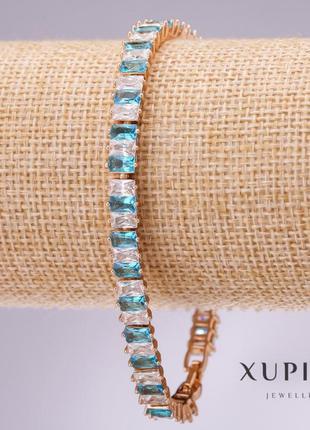 Браслет xuping с голубыми и белыми камнями