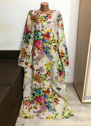 Эксклюзив! льняное платье в цветы с карманами большой размер