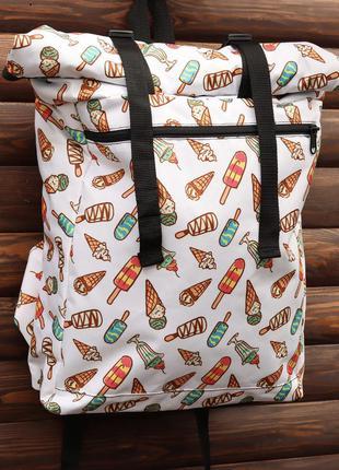 Рюкзак городской женский роллтоп x-roll принт мороженого