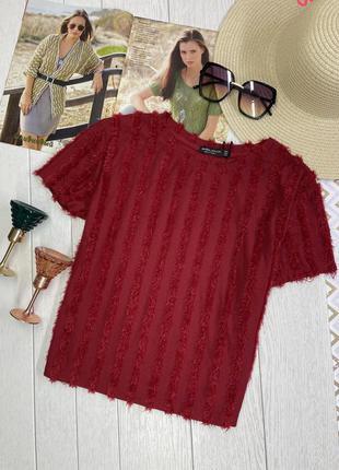 Новая красная футболка с бахромой короткая блуза bershka m