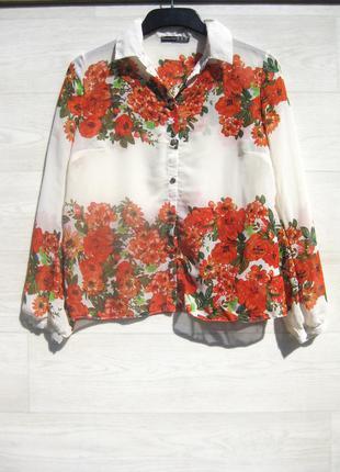 Блуза рубашка atmosphere белая разноцветная цветочный принт
