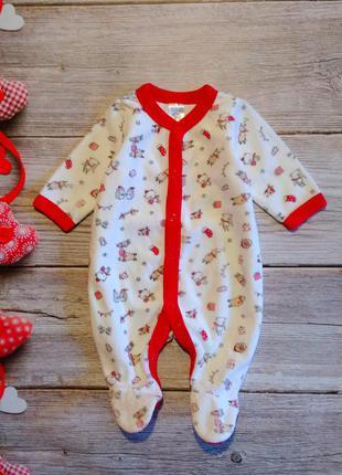 Новогодний велюровый человечек baby club на ребёнка 0-3месяца