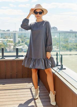 Свободное платье-трапеция волан свободное деловое рукава-фонарики демисезон принт