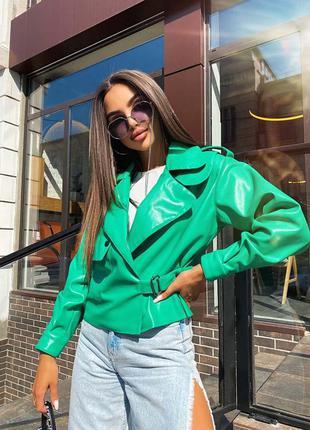 Стильная модная кожаная oversize курточка
