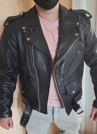 Винтажная кожаная косуха байкерская куртка
