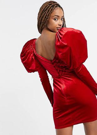 Красное бархатное платье мини с пышными длинными рукавами asos design premium