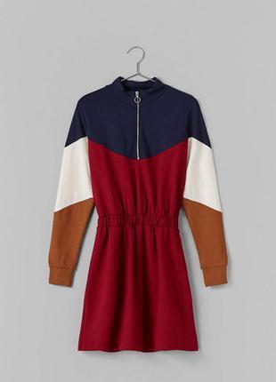 Стильное платье с молнией на горловине mango