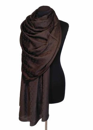 Шелковый шарф палантин огромный брендовый шоколад плотный 100% шелк новый качественный