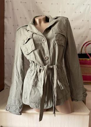 Стильный  пиджак жакет с поясом лён и вискоза