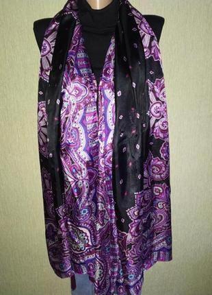 Фирменный большой шарф, палантин из натурального шелка 186*100см
