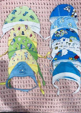 Новые шапочки для новорожденных в роддом байковые хлопковые