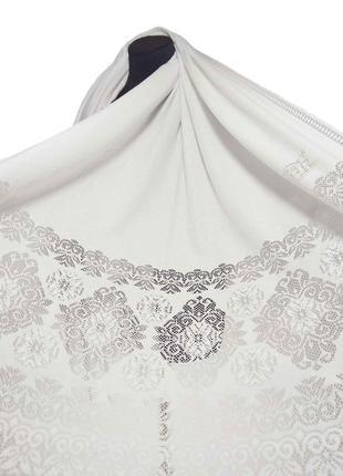 Теплый кружевной шарф палантин кашемировый белый белоснежный ажурный кружево новый