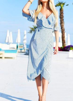 Платье на запах в горошек голубого цвета платье в пол жіноча довга сукня