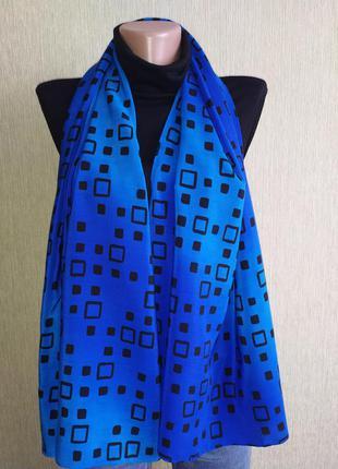 Яркий стильный шелковый шарф палантин, шов роуль
