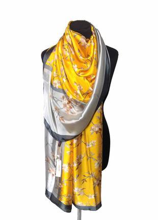 Шелковый нежный шарф палантин серый желтый натуральный 100% шелк новый качетвенный