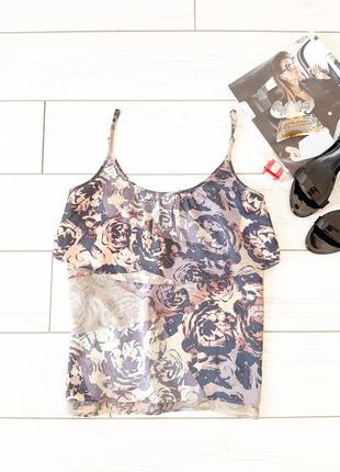 Шелковая блуза_топ с воланом_пастельные тона..# 408