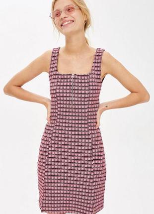 Осеннее короткое твидовое платье topshop xs розовое платье тёплое под твид с замком спереди