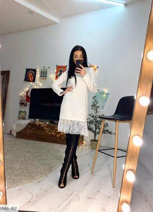 Теплое ангоровое платье свободного кроя с кружевом. распродажа