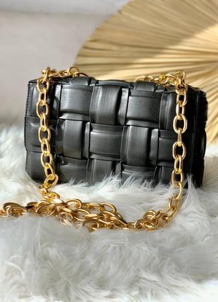 🖤🖤🖤сумка в стиле bottega veneta the chain cassette black/gold