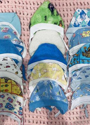 Шапочки для новорожденных мальчик девочка