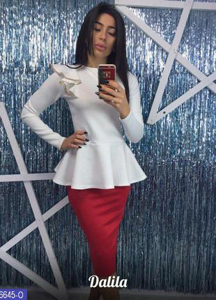 Нарядный костюм юбка карандаш и блуза с баской. распродажа