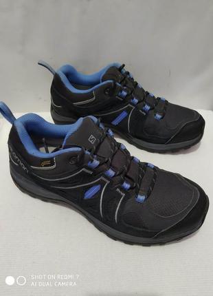 Кожаные комбинированные трекинговые кроссовки salomon gore-tex