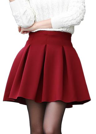 Теплая шерстяная юбка миди горчичная короткая  topshop