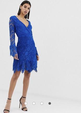 Asos шикарное нарядное синее платье плаття сукня 38 м