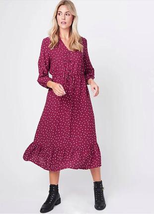 Красивое миди платье в горошек из новых коллекций