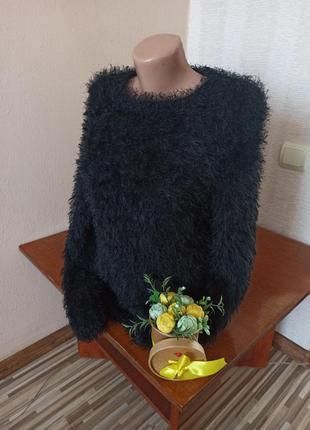 Чёрный свитер-травка ( мягкий/пушистый )
