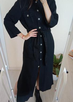 Плотное платье макси,миди из льна/ сукня