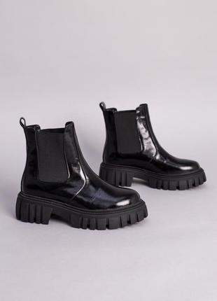 Ботинки челси демисезонные зимние женские черные лаковые