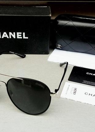 Chanel очки капли унисекс черные в металлической оправе