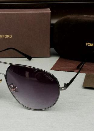 Tom ford очки капли мужские солнцезащитные темно серый градиент в металлической оправе