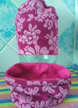 Трикотажный комплект шапка и хомут для девочек двойной