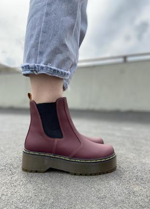 Бордовые кожаные ботинки на высокой платформе