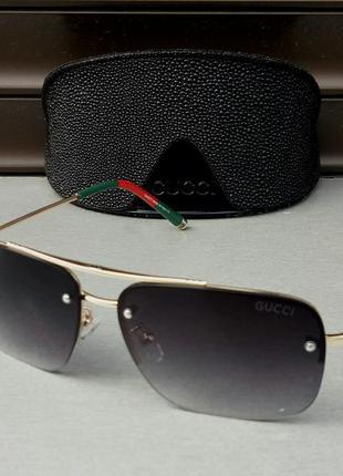 Gucci очки мужские солнцезащитные темно серый градиент в золотой металлической оправе